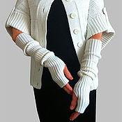 Подарки к праздникам ручной работы. Ярмарка Мастеров - ручная работа Митенки-рукава эластичные вязаные под жилет Митенки длинные. Handmade.