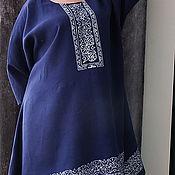 """Одежда ручной работы. Ярмарка Мастеров - ручная работа Туника блузка """" Русские мотивы"""" из льна. Handmade."""
