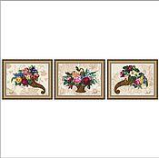 """Картины ручной работы. Ярмарка Мастеров - ручная работа Вышитые картины. Триптих """"Изобилие"""". Handmade."""