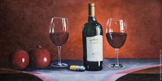 """Натюрморт ручной работы. Ярмарка Мастеров - ручная работа. Купить Картина маслом  """"Вино и гранаты"""". Handmade. Разноцветный, картина для интерьера"""