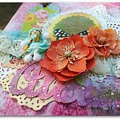 Канцелярские товары ручной работы. Ярмарка Мастеров - ручная работа Розовый альбом с бабочками. Handmade.