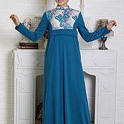 """Одежда ручной работы. Ярмарка Мастеров - ручная работа Синее платье в пол М-416 """"Стиль"""". Handmade."""