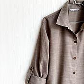 Одежда ручной работы. Ярмарка Мастеров - ручная работа Блуза Натюр, лен 100, льняная рубашка, одежда из льна, льняная одежда. Handmade.