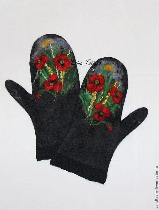 """Варежки, митенки, перчатки ручной работы. Ярмарка Мастеров - ручная работа. Купить Варежки """"Маки-3"""". Handmade. Черный"""