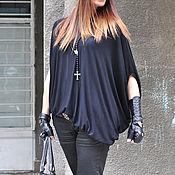 Одежда handmade. Livemaster - original item Chic black cotton blouse - TP0450TR. Handmade.