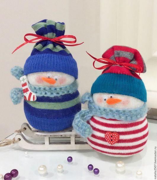 Новый год 2017 ручной работы. Ярмарка Мастеров - ручная работа. Купить Снеговички-малыши. Handmade. Снеговик, новогодний декор, на новый год