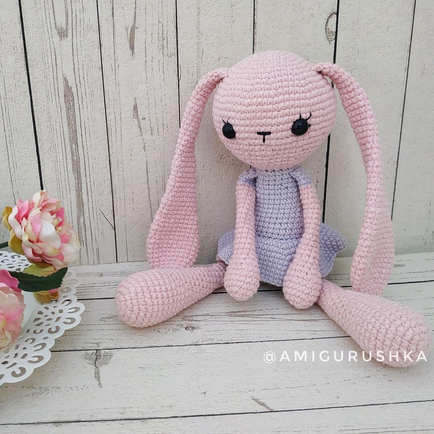 Amigurumi pink Bunny girl for kids long-eared alien, Amigurumi dolls and toys, Saki,  Фото №1