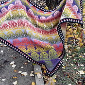Шали ручной работы. Ярмарка Мастеров - ручная работа Жаккардовая вязанная  шаль. Handmade.