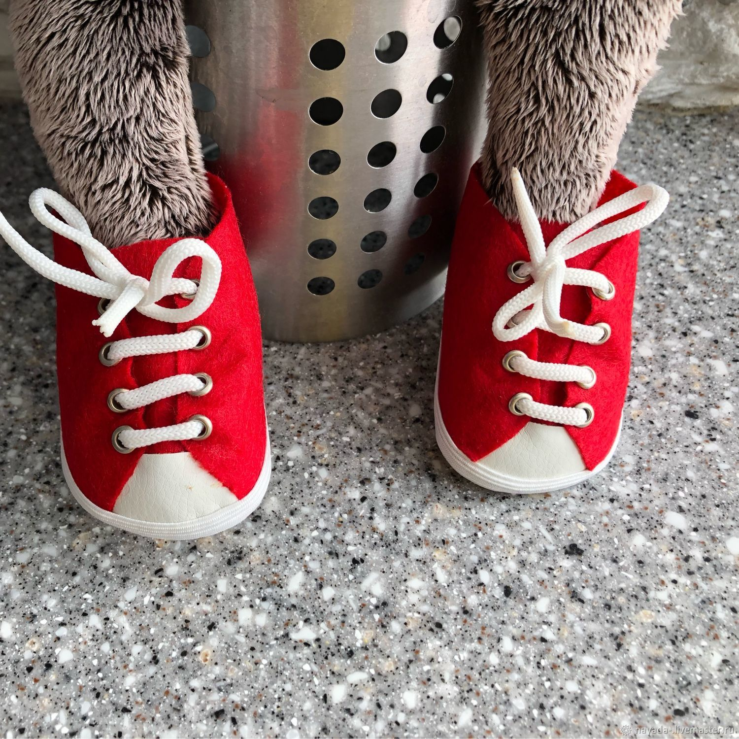 Red toy felt sneakers, Clothes for dolls, Moscow,  Фото №1