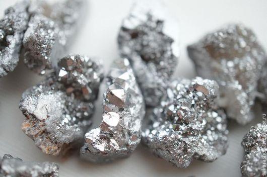 Для украшений ручной работы. Ярмарка Мастеров - ручная работа. Купить Агат друза с напылением титана серебро 18х10мм. Handmade.
