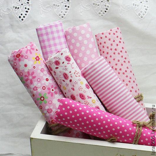Шитье ручной работы. Ярмарка Мастеров - ручная работа. Купить Набор тканей Нежность, хлопок. Handmade. Розовый, ткань