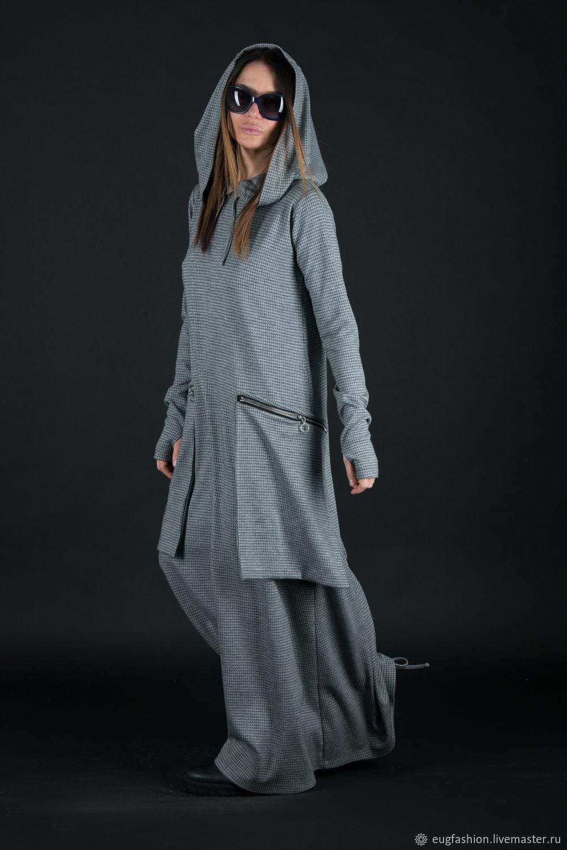 Maxi dress with hood and large pockets-DR0134PM, Dresses, Sofia,  Фото №1