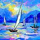 """Картина с морем """"Лодки в Голубой Дымке"""" холст масло"""
