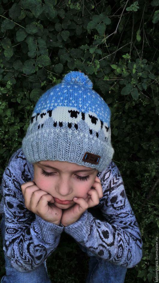 Шапки ручной работы. Ярмарка Мастеров - ручная работа. Купить Детская вязаная шапка шапочка жаккардовая с помпоном. Handmade.