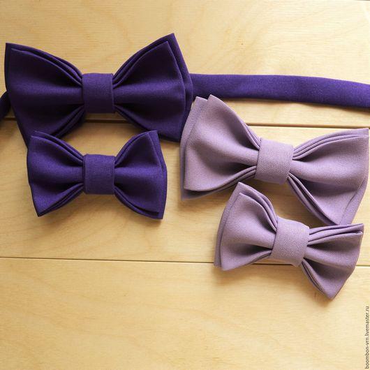Галстуки, бабочки ручной работы. Ярмарка Мастеров - ручная работа. Купить Комплект: детский и взрослый галстук-бабочка. Handmade. Сиреневый