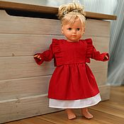 Куклы и игрушки handmade. Livemaster - original item Doll clothes, red dress for dolls made of natural linen. Handmade.