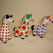 Куклы и игрушки ручной работы. Ярмарка Мастеров - ручная работа Малые дымковские коники - Лошадка №3. Handmade.