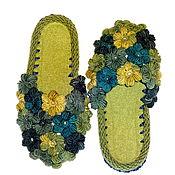 Обувь ручной работы. Ярмарка Мастеров - ручная работа Тапочки вязаные  Клумба в июне , оливковый, р.38. Handmade.