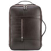 "Сумки и аксессуары handmade. Livemaster - original item Кожаный рюкзак-сумка ""Лесснер"" (коричневый). Handmade."