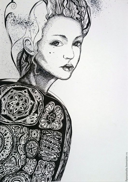 Волшебная графическая черно-белая картина `Девушка- Черепаха`. Сказочный сюжет. Мистический символизм. Графика пером. Алёна Конева. сказка в теплоте рук.