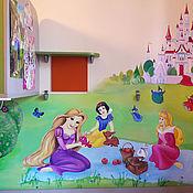 Для дома и интерьера ручной работы. Ярмарка Мастеров - ручная работа Роспись стен в детской комнате Принцессы Диснея на пикнике. Handmade.