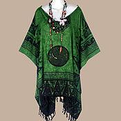 Одежда ручной работы. Ярмарка Мастеров - ручная работа Кельтский мотив Зеленая туника платье, батик колдунья, лето оверсайз. Handmade.
