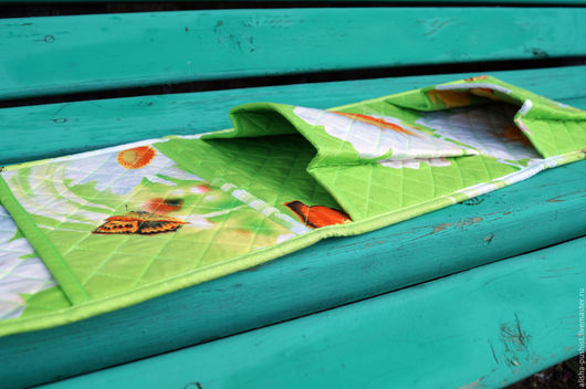 """Детские аксессуары ручной работы. Ярмарка Мастеров - ручная работа. Купить Кармашки в шкафчик (детский сад) """"Ромашки"""". Handmade. Зеленый"""