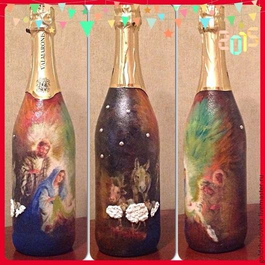 Подарочное оформление бутылок ручной работы. Ярмарка Мастеров - ручная работа. Купить Бутылки-подарки. Handmade. Бутылка в подарок