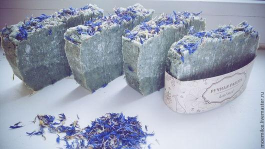Мыло-шампунь ручной работы. Ярмарка Мастеров - ручная работа. Купить Голубая глина. Handmade. Масло ши, лавандовое мыло