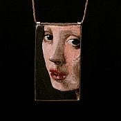 Pendants handmade. Livemaster - original item embroidered pendant the Vermeer series