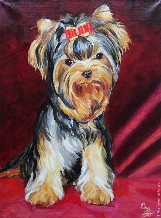 """Животные ручной работы. Ярмарка Мастеров - ручная работа. Купить Картина маслом """"Портрет собачки"""". Handmade. Бордовый, портрет собаки"""