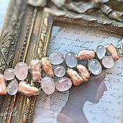 Украшения handmade. Livemaster - original item Delicate bracelet from rose Quartz and pearls. Handmade.