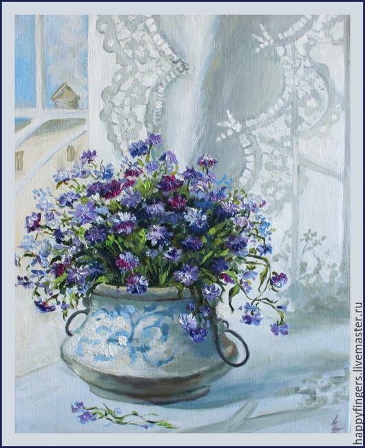 """Картины цветов ручной работы. Ярмарка Мастеров - ручная работа. Купить Картина маслом """"Цветы"""". Handmade. Голубой, картина цветы"""