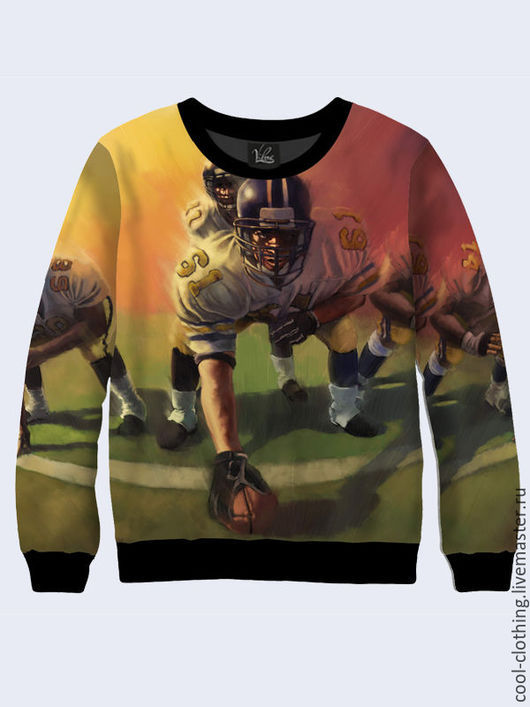 """Кофты и свитера ручной работы. Ярмарка Мастеров - ручная работа. Купить Мужской свитер """"Американский футбол"""". Handmade. Рисунок"""