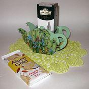 Для дома и интерьера handmade. Livemaster - original item Box for tea (tea bag). decoupage. Green summer. Handmade.