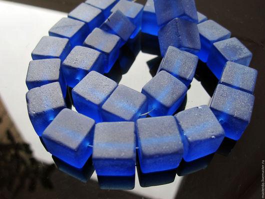 Для украшений ручной работы. Ярмарка Мастеров - ручная работа. Купить СИНИЙ матовый Кварц кубики. Handmade. Синий