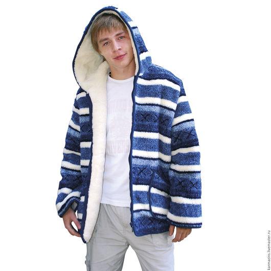 Верхняя одежда ручной работы. Ярмарка Мастеров - ручная работа. Купить Куртка мужская, шерсть Мериноса СКАНДИ БЛУ с капюшоном. Handmade.