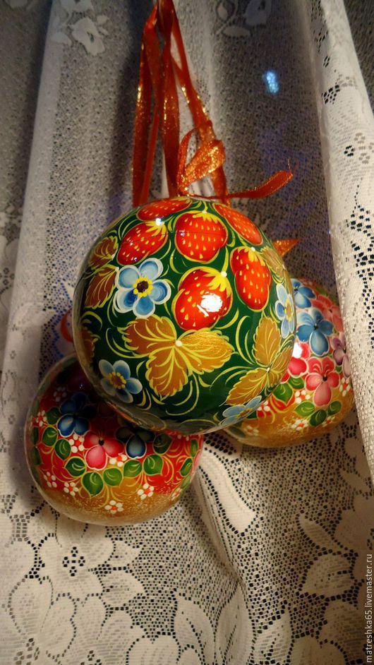 Сувениры ручной работы. Ярмарка Мастеров - ручная работа. Купить шар новогодний  деревянный расписной , открывающийся . хохлома .. Handmade. Комбинированный