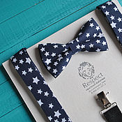 Аксессуары handmade. Livemaster - original item Dark blue tie with stars Suspenders dark blue Stars. Handmade.