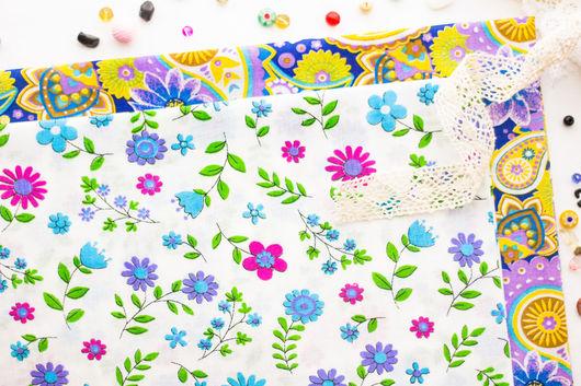 Хлопок 100%. Ткань для шитья, тильд, игрушек, квилтинга, пэчворка, скрапбукинга. Мягкий хлопок. Ткань для творчества. Ивановские ткани. Ситец. Бязь. Купить ткань. Хлопок, цветочный орнамент, огурец