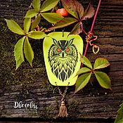 Украшения handmade. Livemaster - original item suspension: Owl (glows in ultraviolet). Handmade.