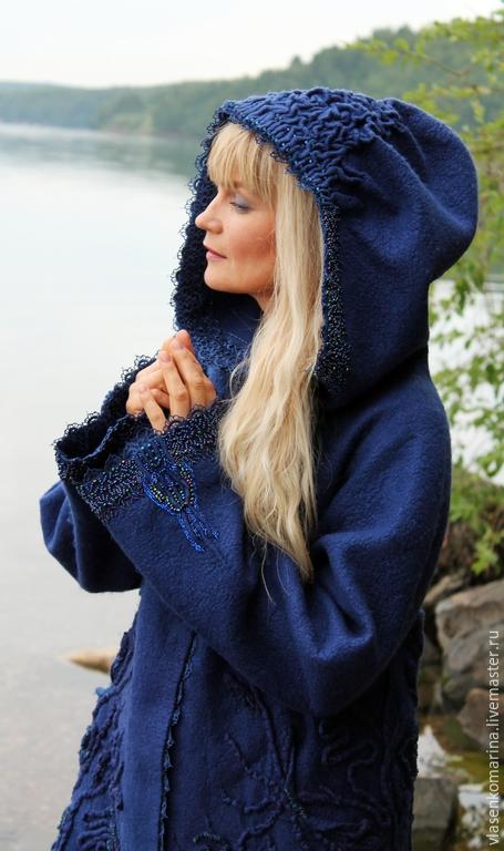Верхняя одежда ручной работы. Ярмарка Мастеров - ручная работа. Купить Плащ-пальто валяное Дикая голубика. Handmade. Синий