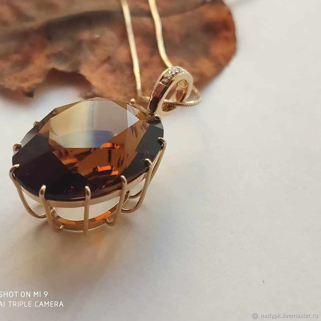Pendant with citrine-Madera of 'Madeira', gold, Pendant, Moscow,  Фото №1