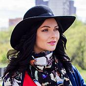 Аксессуары handmade. Livemaster - original item Wide-brimmed hat with a brim of medium density. Color black. Handmade.