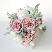 Свадебный букет невесты,зимний букет из глины