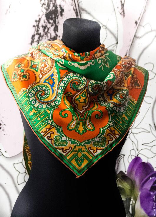 Шали, палантины ручной работы. Ярмарка Мастеров - ручная работа. Купить Платок ETRO женский 90на 90см. Натуральный шелк. Handmade.