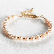 Свадебный салон ручной работы. Ярмарка Мастеров - ручная работа 623_Розовый жемчужный браслет, золотой браслет, браслет невесты. Handmade.