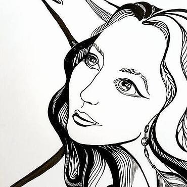 Картины и панно ручной работы. Ярмарка Мастеров - ручная работа Портрет пары или человека. Черно-белая графика. Handmade.