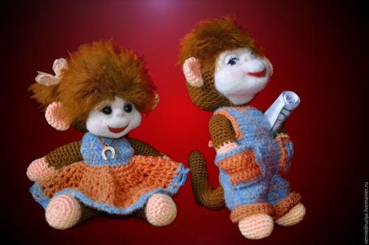 Игрушки животные, ручной работы. Ярмарка Мастеров - ручная работа. Купить ''Классная парочка'' обезьянки. Handmade. Рыжий, обезьянка в подарок