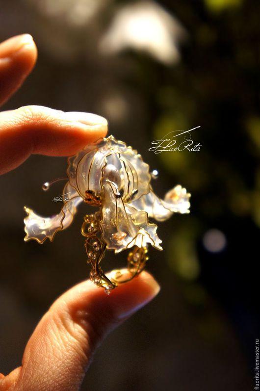 """Кольца ручной работы. Ярмарка Мастеров - ручная работа. Купить Авторское кольцо из комплекта """"Ирисы 2"""" с нуля, жемчуг, жидкое стекло.. Handmade."""